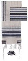 Hand Woven Tallis Blue and White Striped Design by Yair Emanuel