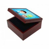 Yarmulka Keeper Box Boy and Blocks Design Blue Customizable