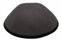 iKippah Gray Linen with Black Rim Size 3