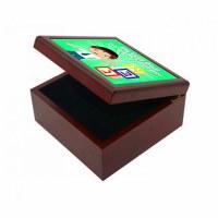 Yarmulka Keeper Box Boy and Blocks Design Green