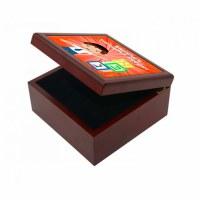Yarmulka Keeper Box Boy and Blocks Design Orange Customizable