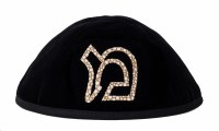 Stones of Class Custom Letter Velvet Kippah Spot Outline Gold