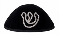 Stones of Class Custom Letter Velvet Kippah Spot Outline Silver