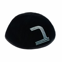 Stones of Class Custom Letter Velvet Kippah Metallic Lines Blue Color