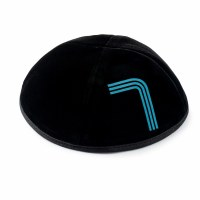 Stones of Class Custom Letter Velvet Kippah Neon Lines Blue Color