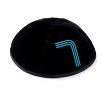 Stones of Class Custom Letter Velvet Kippah Neon Lines Blue Color