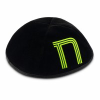 Stones of Class Custom Letter Velvet Kippah Neon Lines Green Color