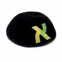 Stones of Class Custom Letter Velvet Kippah Tie Dye Green Color
