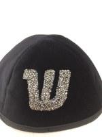 Velvet Yarmulka 3D Glitter Silver Suds Custom Hebrew Letter