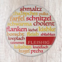 Fleishig Round Cutting Board Tempered Glass Word Cloud Design 8""