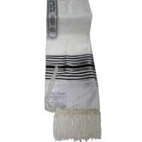 """Tallis Paz Rayon Size 18 Black and Silver Stripes 18"""" x 72"""""""