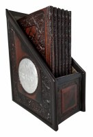Zemiros Holder Brown Leather Accentuated with Silver Medallions Including 6 Benchers Ashkenaz