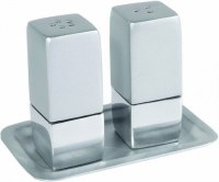 Yair Emanuel Judaica Anodized Aluminum Salt and Pepper Set Square - Silver