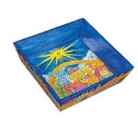 Yair Emanuel Wooden Passover Matzah Plate- Jerusalem Oriental Design