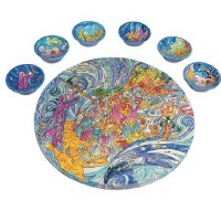 Yair Emanuel Wooden Painted Seder Plate - Exodus from Egypt