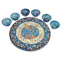 Yair Emanuel Wooden Painted Seder Plate - Peacocks Design