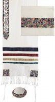 Yair Emanuel Embroidered Raw Silk Tallit - Magen David Multicolor