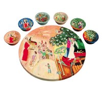 Yair Emanuel Wooden Painted Seder Plate - Figures Design