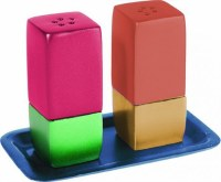 Yair Emanuel Judaica Anodized Aluminum Salt and Pepper Set Square Multicolored