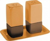 Yair Emanuel Judaica Anodized Aluminum Salt and Pepper Set Square - Gold & Brown