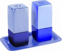 Yair Emanuel Judaica Anodized Aluminum Salt and Pepper Set Square Blue