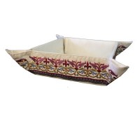 Yair Emanuel Judaica Embroidered Folding Basket Oriental Red
