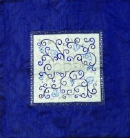 Yair Emanuel Embroidered Matzah Cover Pomegranates White on Blue