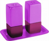 Yair Emanuel Judaica Anodized Aluminum Salt and Pepper Set Square - Pink