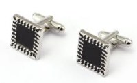 Black Ridged Edge Cufflinks with Cuff Link Display Gift Box