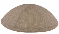 Kippah Light Gray Burlap 6 Part One Size Fit All