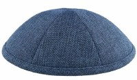 Kippah Navy Burlap 6 Part One Size Fit All
