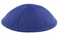 Kippah Royal Blue Burlap 6 Part One Size Fit All