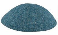 Kippah Turquoise Burlap 6 Part One Size Fit All