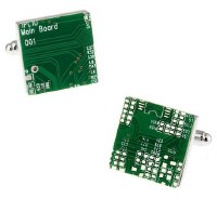 Green Circuit Board Cufflinks with Cuff Link Display Gift Box
