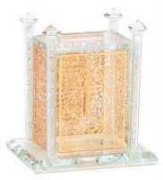 Crystal Tzedakah Box Adorned with Gold Colored Floral Cutout and Crushed Glass Poles