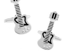 Guitar Cufflinks Silver with Cuff Link Display Gift Box
