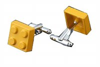 Yellow Building Block Cufflinks with Cuff Link Display Gift Box