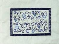 Yair Emanuel Embroidered Afikomen Bag Pomegranates- Blue on White