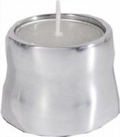 Yair Emanuel Anodized Aluminum Tea Light Single Candle Holder Silver Shiny