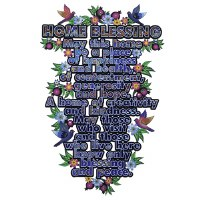 "Wooden Home Blessing English Wall Hanging Bird Flower Design 11"""