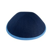 iKippah Navy Linen with Sky Blue Rim Size 2