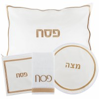 Pesach Set Faux Leather 4 Piece White and Gold Hotel Style Design
