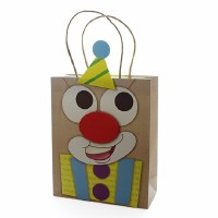 Luxury Paper Purim Gift Bag with 3D Clown Design Brown