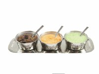 Rectangular Hammered Tray with 3 Container Dip Bowls with Spoons Hammered Nickel