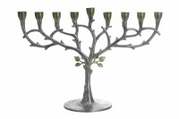 Stainless Steel Candle Menorah Two Tone Leaf Design