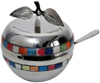 Nickel Honey Dish with Multicolor Squares, Spoon and Glass Insert
