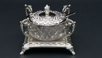 Honey Dish Silver Plated Glass Bowl with Matching Spoon