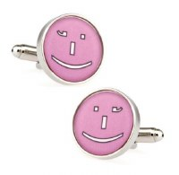 Pink Smiley Cufflinks with Cuff Link Display Gift Box