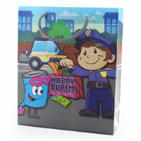 Purim Gift Bag Child Police Office Character Design