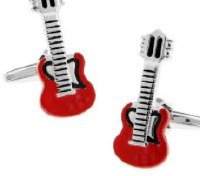 Guitar Cufflinks Red with Cuff Link Display Gift Box